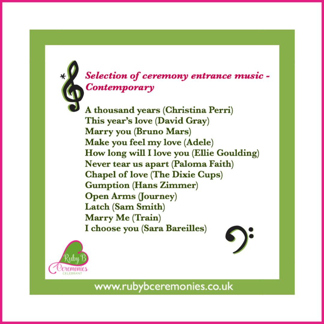 Celebrant wedding ceremony music