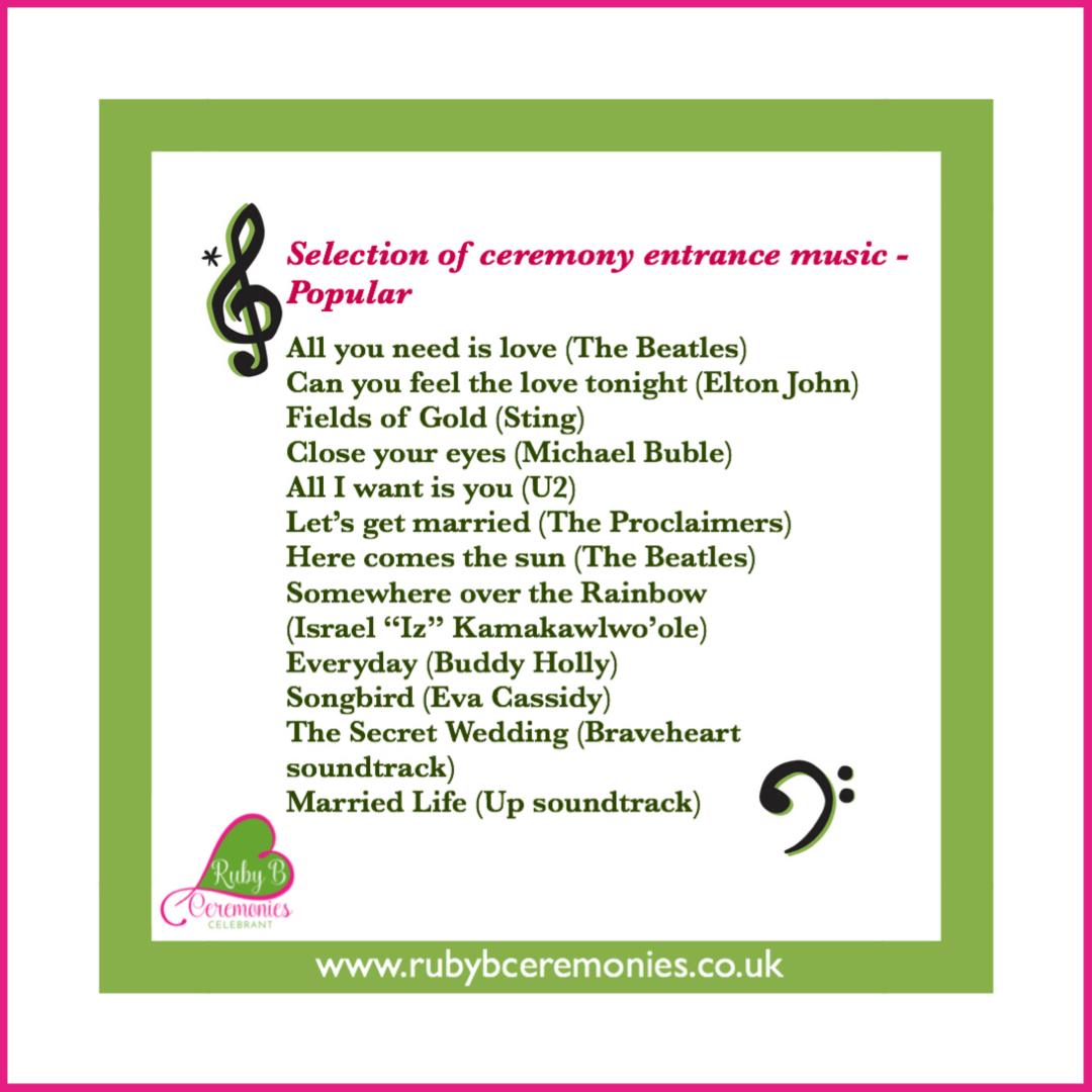 Celebrant wedding music