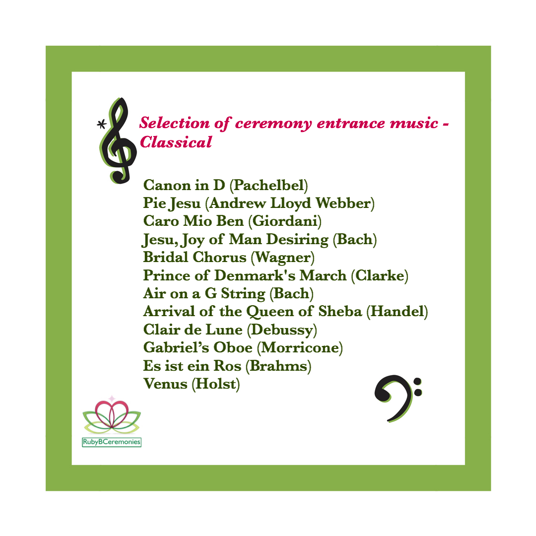 Ceremony Music Classical, Wedding Celebrant UK