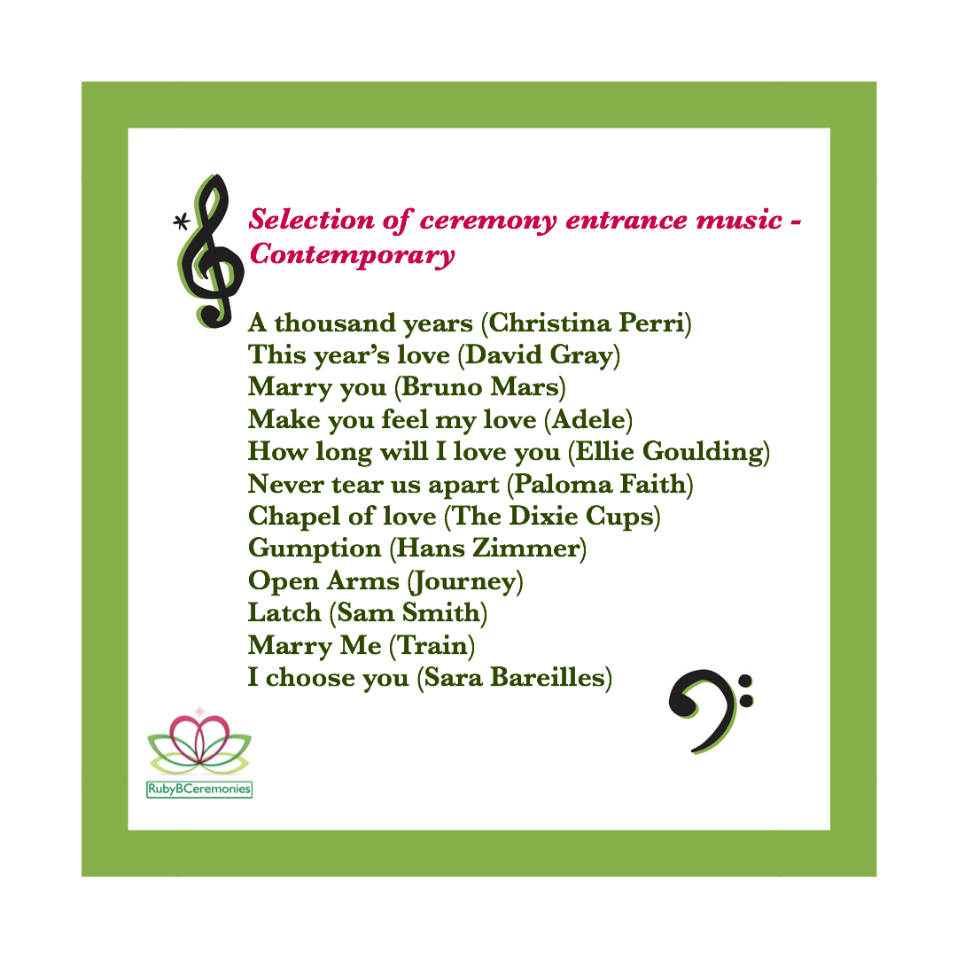 Modern Wedding Ceremony Songs: UK Wedding Celebrant, Ceremony Music, Contemporary
