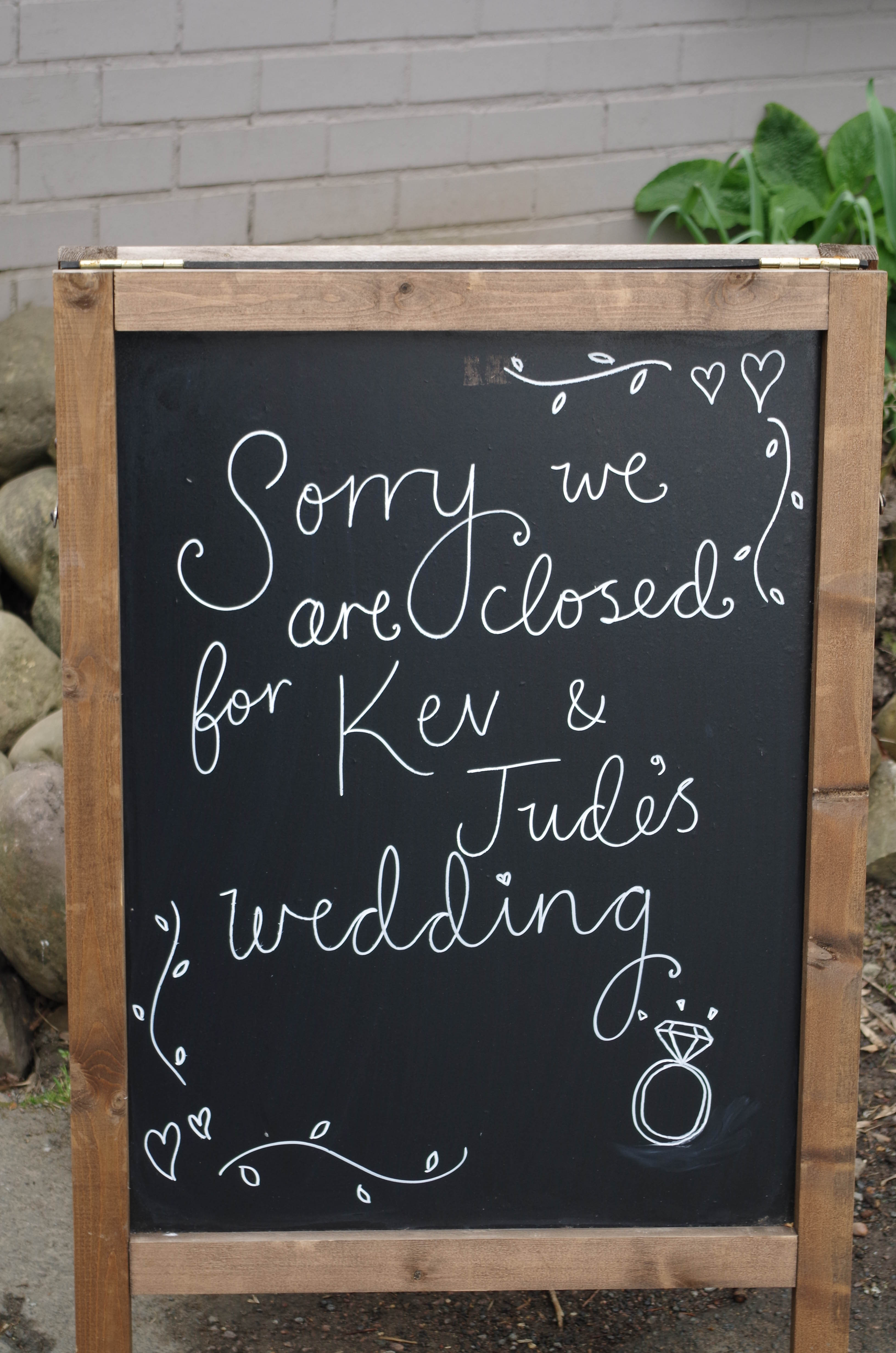 Sign for wedding
